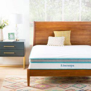 Linenspa 10 Inch Memory Foam and Innerspring Hybrid Medium Feel, Queen Size