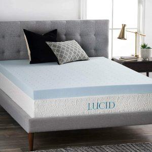 LUCID 4 Inch Gel Memory Foam Mattress Topper
