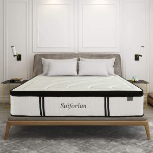 Suiforlun 14 Inch Euro Top Gel Memory Foam and Innerspring Hybrid Mattress